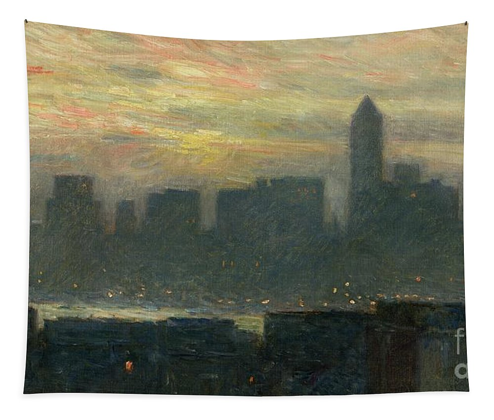 Nyc; New York City; Ny; Us; Usa; Skyline; Mist; Fog; Atmospheric; Evening; Dusk; American Impressionist; Skyscraper; Skyscrapers; River; Tower; Fog Tapestry featuring the painting Manhattans Misty Sunset by Childe Hassam