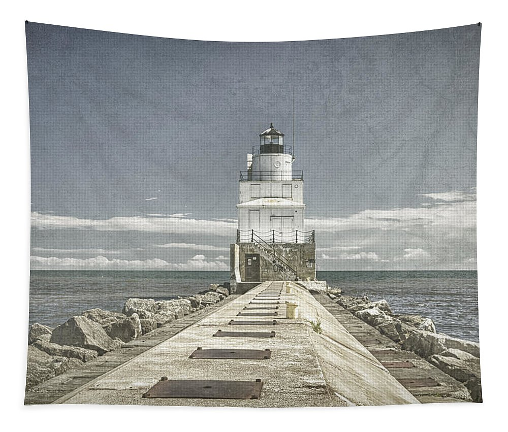 Architecture Tapestry featuring the photograph Manitowoc Breakwater Lighthouse II by Joan Carroll