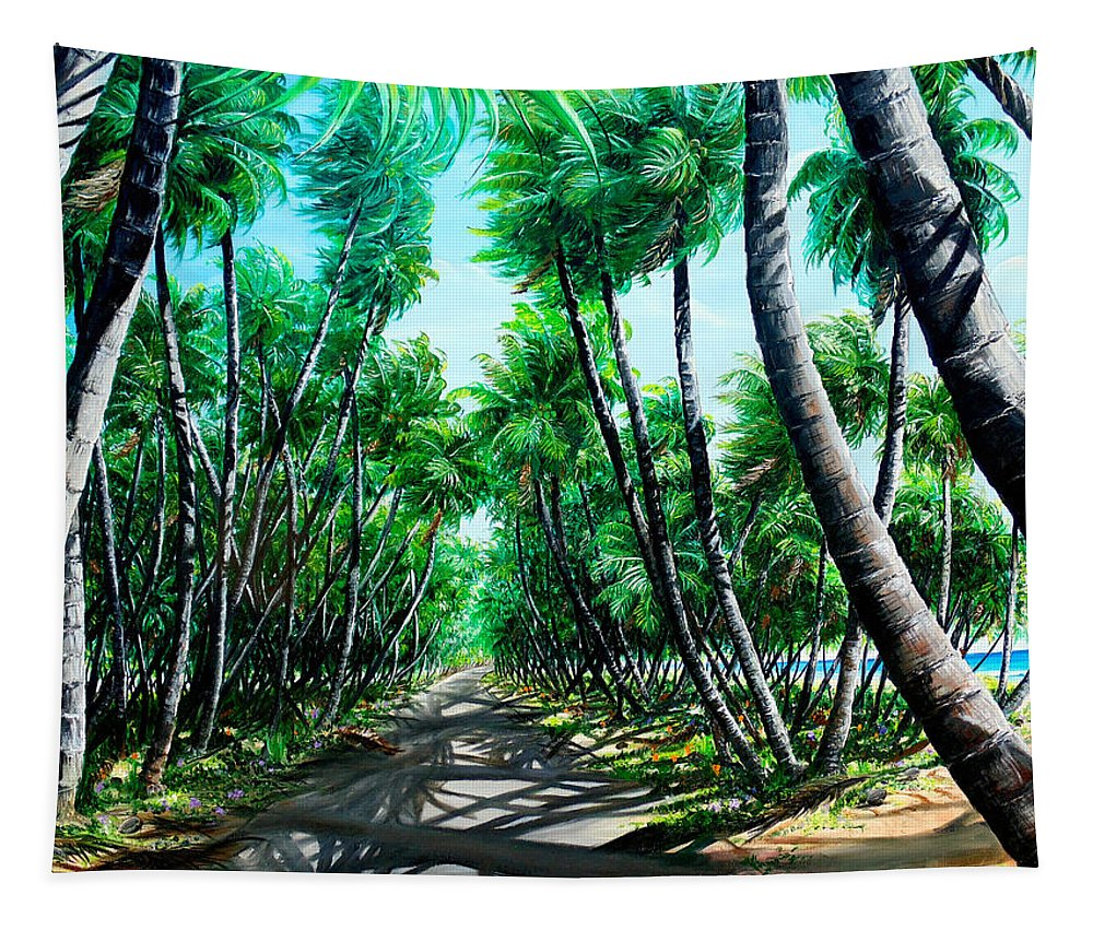 Coconut Trees Tapestry featuring the painting Manzanilla Coconut Estate by Karin Dawn Kelshall- Best