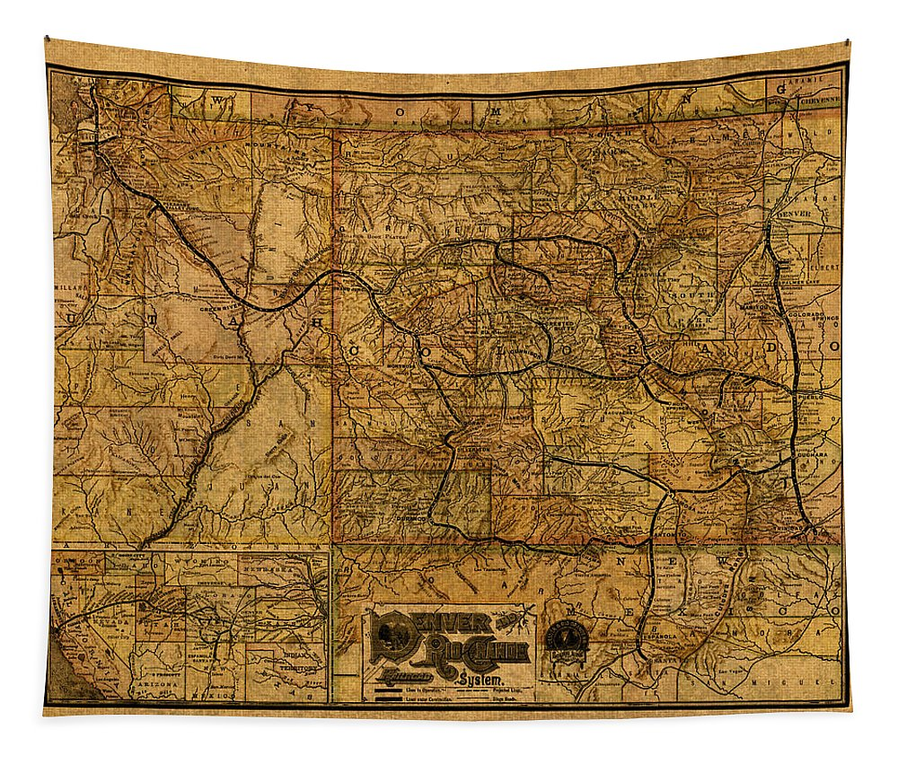 Map Tapestry featuring the mixed media Map Of Denver Rio Grande Railroad System Including New Mexico Circa 1889 by Design Turnpike