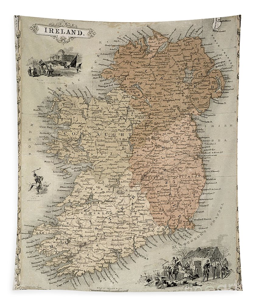 Eire Tapestry featuring the painting Map of Ireland by C Montague