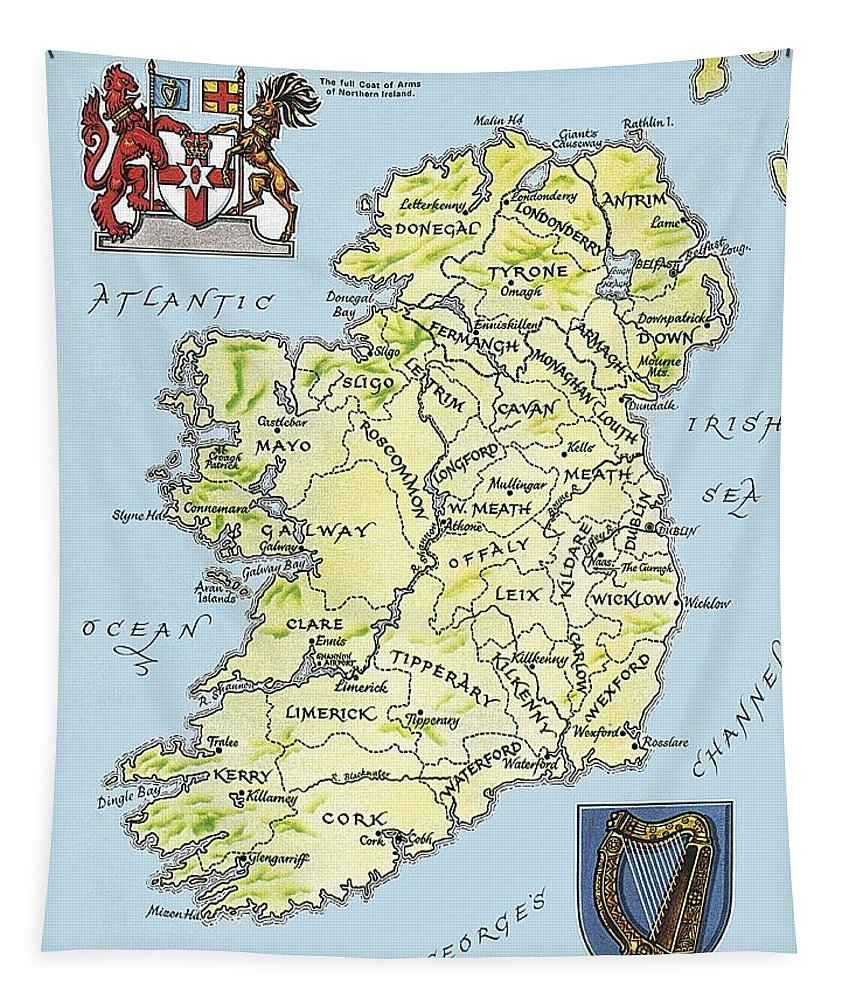 Coat Of Arms; Irish Tapestry featuring the painting Map of Ireland by English School