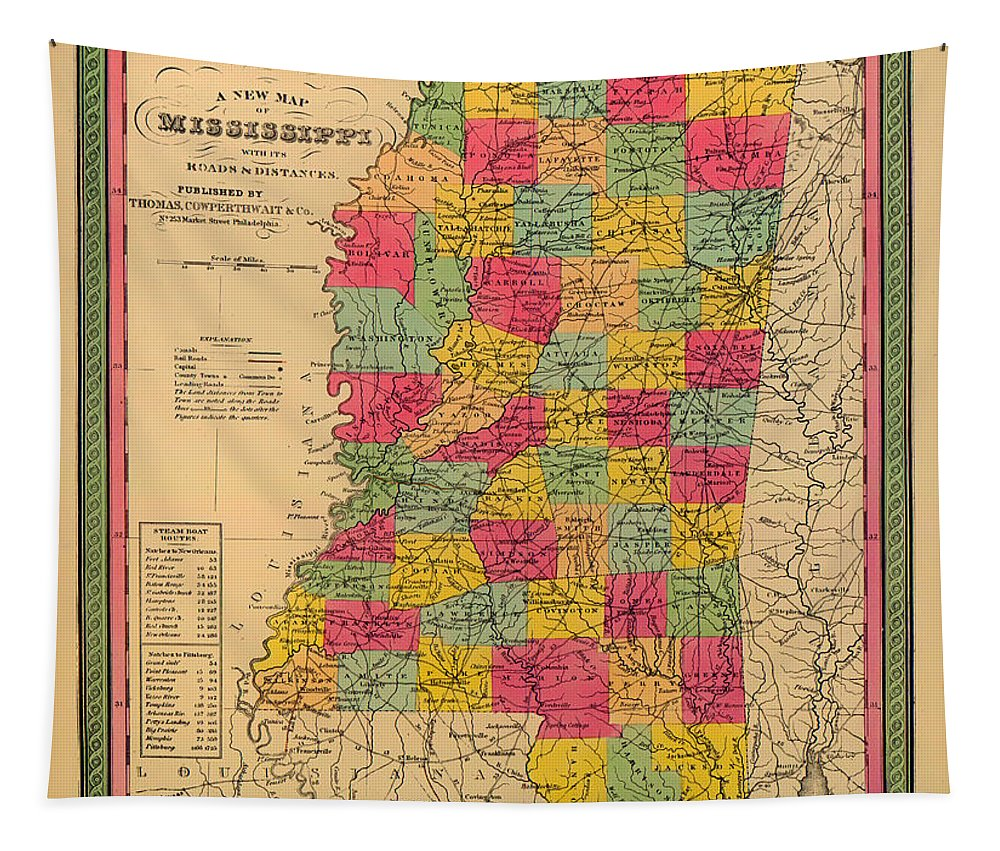 Mississippi Tapestry featuring the photograph Map Of Mississippi 1850 by Mountain Dreams