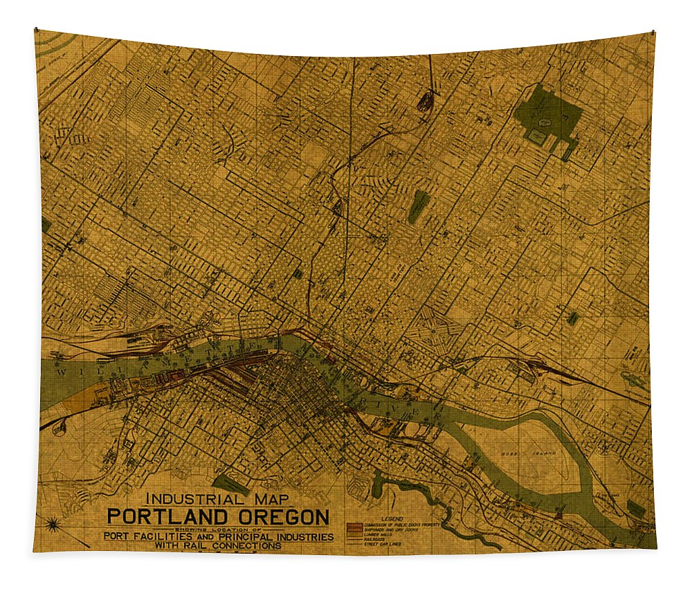 Map Of Portland Tapestry featuring the mixed media Map Of Portland Oregon City Street Schematic Cartography Circa 1924 On Worn Parchment by Design Turnpike