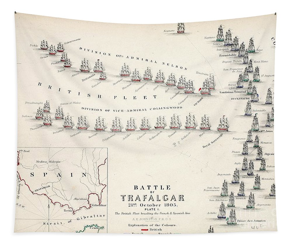 Map Tapestry featuring the drawing Map of the Battle of Trafalgar by Alexander Keith Johnson
