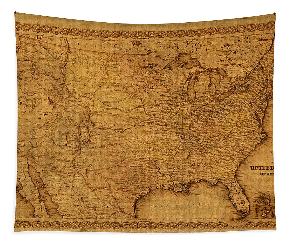 Map Tapestry featuring the mixed media Map Of United States Of America Vintage Schematic Cartography Circa 1855 On Worn Parchment by Design Turnpike