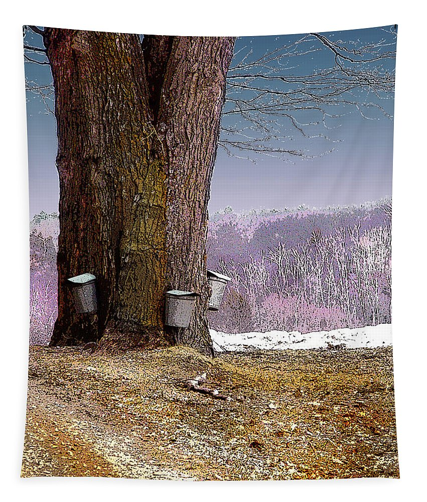 Landscape Tapestry featuring the digital art Maple Buckets by Nancy Griswold