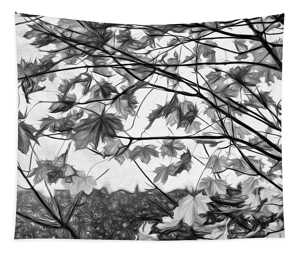 Landscape Tapestry featuring the photograph Maple Sunset - Paint Bw by Steve Harrington