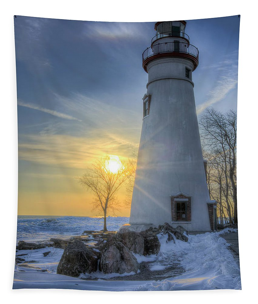 Lighthouse Tapestry featuring the photograph Marblehead Lighthouse Sunrise by Michael Shake