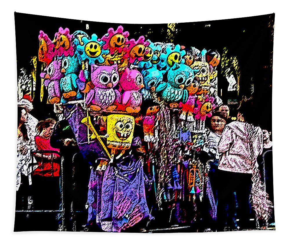 Digital Art Tapestry featuring the photograph Mardi Gras Vendor's Cart by Marian Bell