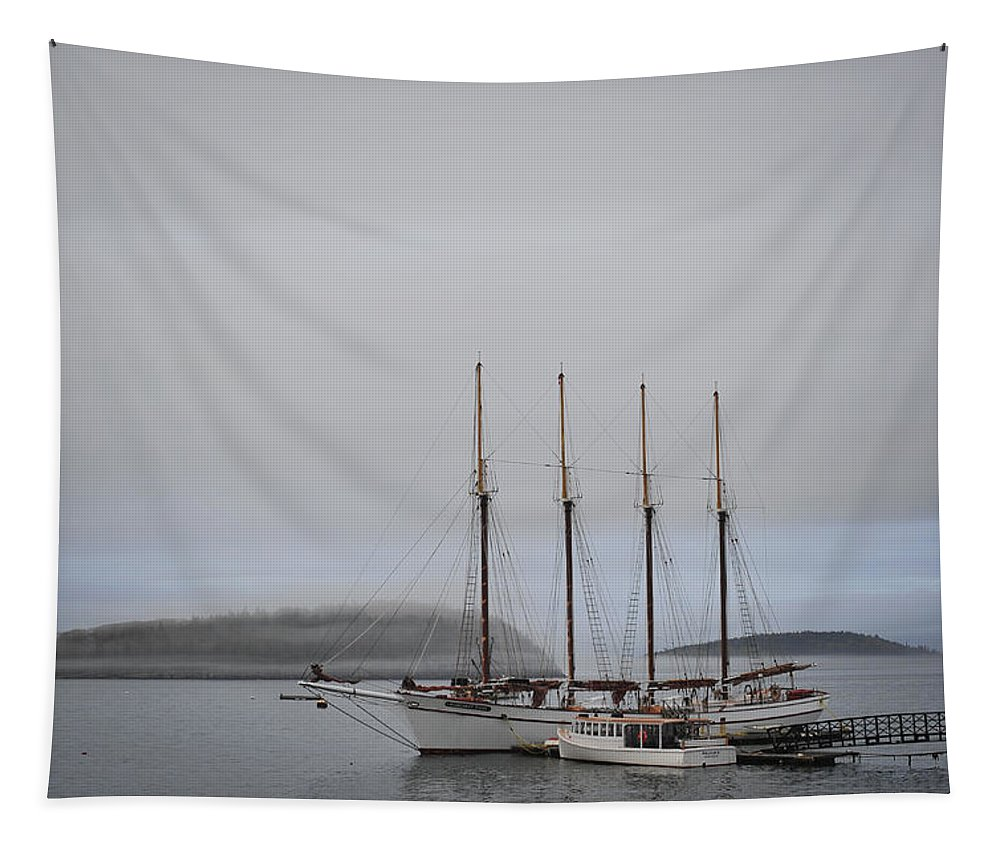 Landscape Tapestry featuring the photograph Margaret Todd Schooner by Terry DeLuco