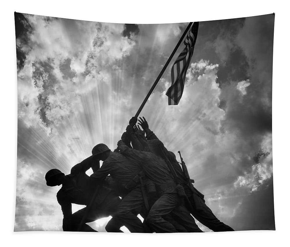 Marine Tapestry featuring the photograph Marine Corps War Memorial by Jerry Fornarotto