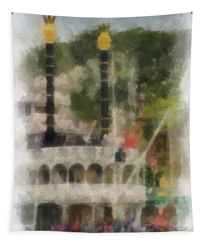 Disney Tapestry featuring the photograph Mark Twain Riverboat Frontierland Disneyland Vertical Photo Art 01 by Thomas Woolworth