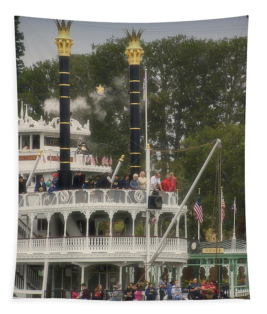 Disney Tapestry featuring the photograph Mark Twain Riverboat Frontierland Disneyland Vertical by Thomas Woolworth