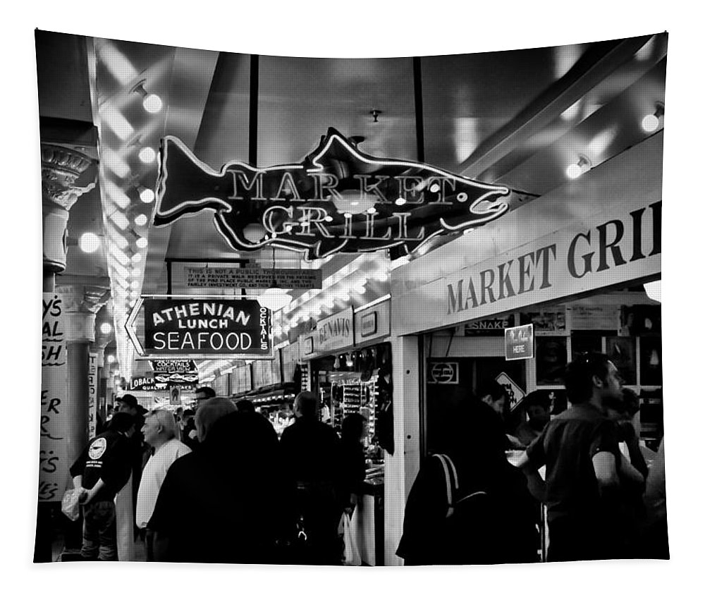 Markets Tapestry featuring the photograph Market Grill In Pike Place Market by David Patterson