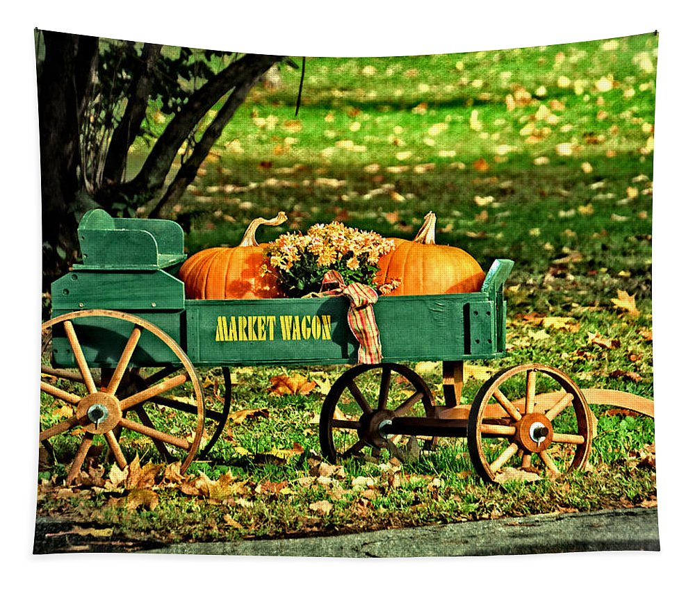 Market Tapestry featuring the photograph Market Wagon by Mike Martin
