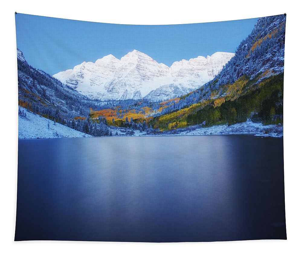 Maroon Bells Tapestry featuring the photograph Maroon Bells Dawn by OLena Art Brand