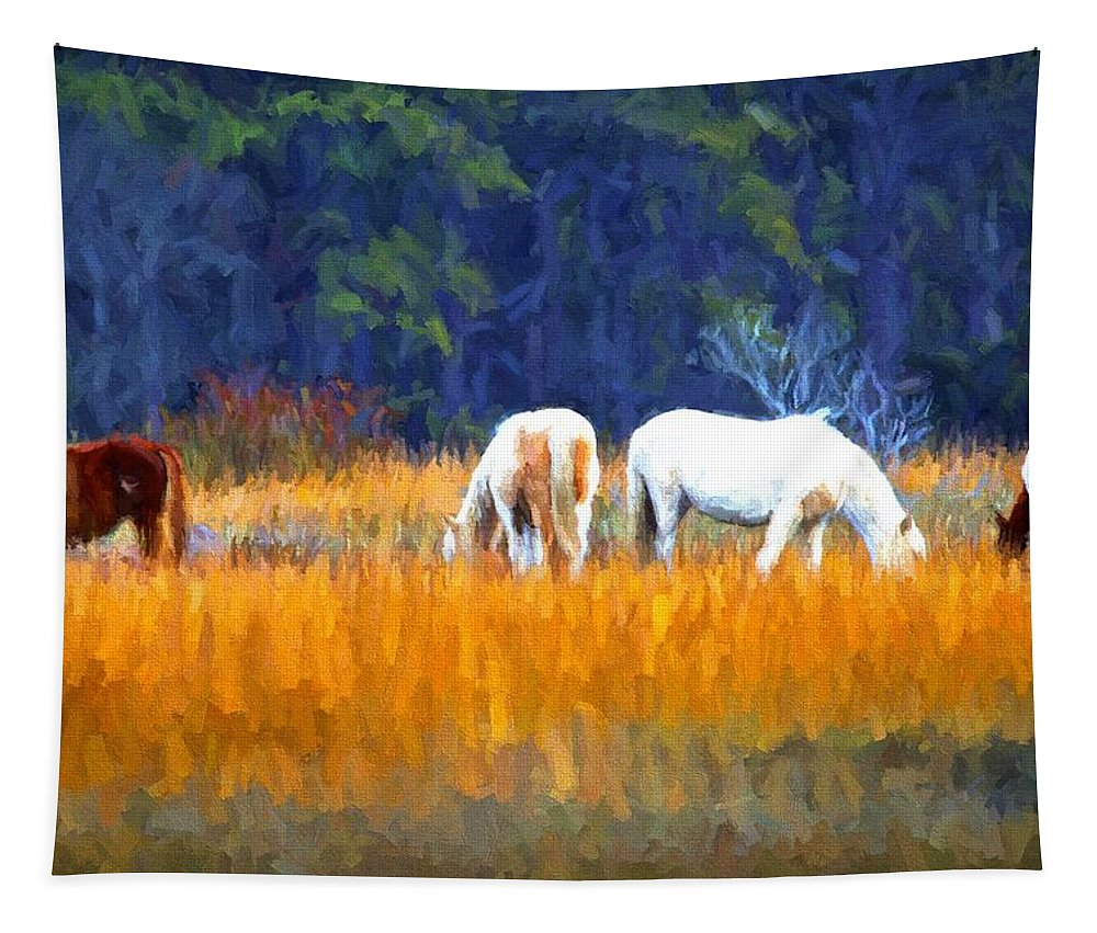 Chincoteague Ponies Tapestry featuring the photograph Marsh Ponies by Alice Gipson