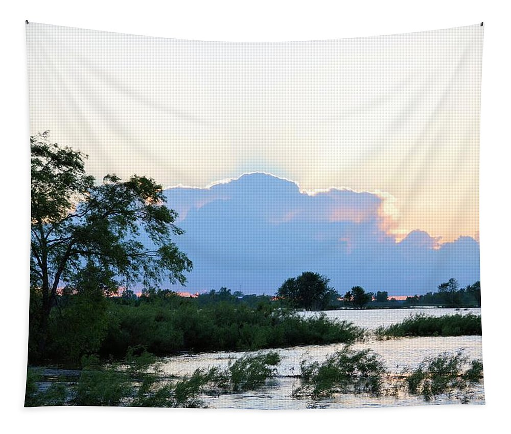 Clouds Tapestry featuring the photograph Marsh-set by Bonfire Photography