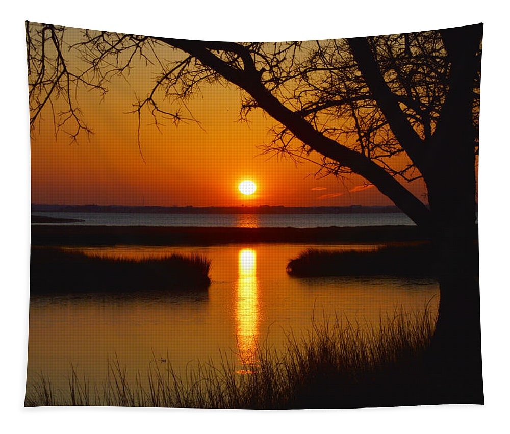 Ocean City Sunset Tapestry featuring the photograph Ocean City Sunset At Old Landing Road by Bill Swartwout Fine Art Photography