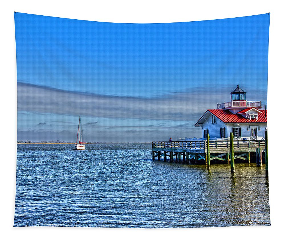 Water Tapestry featuring the photograph Marshes Lighthouse by Tom Gari Gallery-Three-Photography