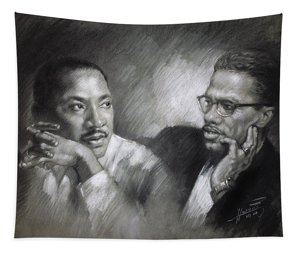 Malcolm X Tapestry featuring the drawing Martin Luther King Jr And Malcolm X by Ylli Haruni