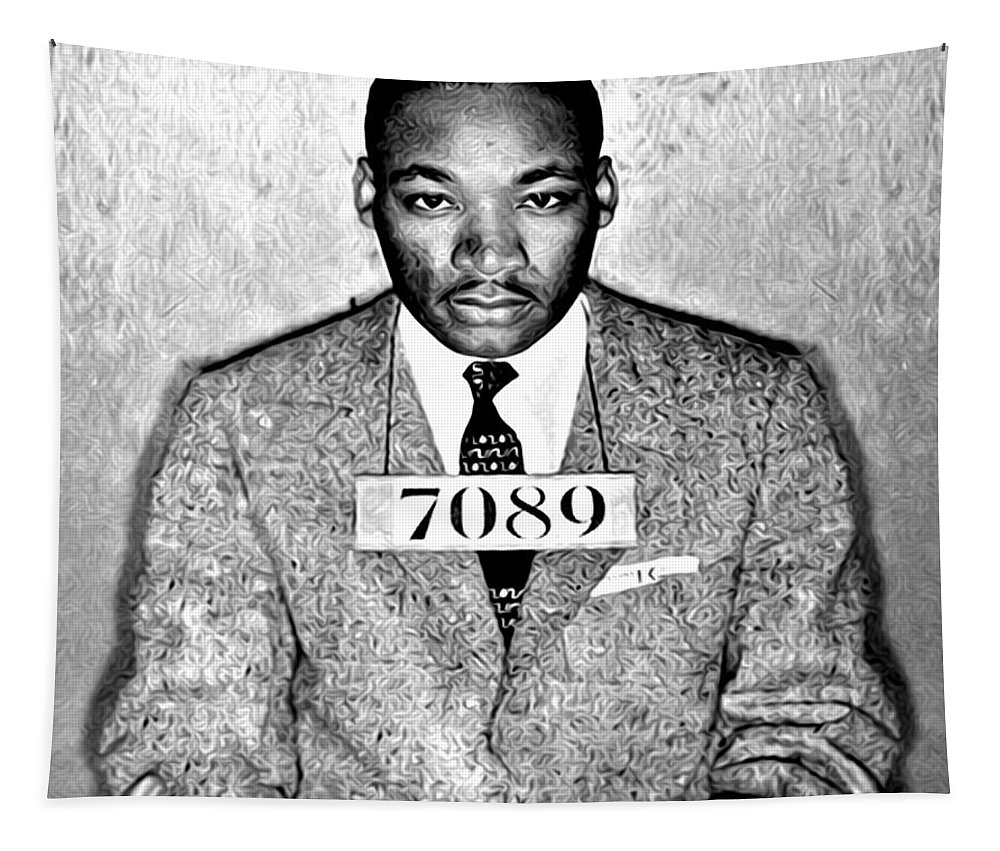 Martin Luther King Mugshot Tapestry featuring the photograph Martin Luther King Mugshot by Digital Reproductions