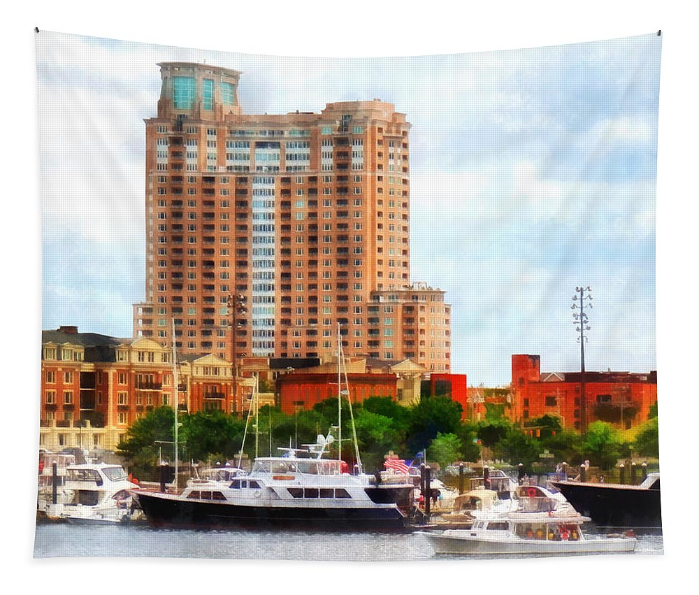 Boat Tapestry featuring the photograph Maryland - Boats At Inner Harbor Baltimore Md by Susan Savad