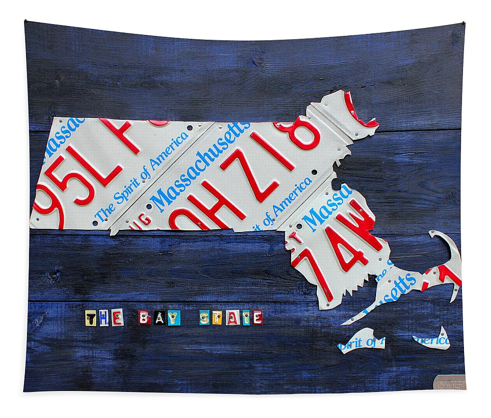 Massachusetts Tapestry featuring the mixed media Massachusetts License Plate Map by Design Turnpike
