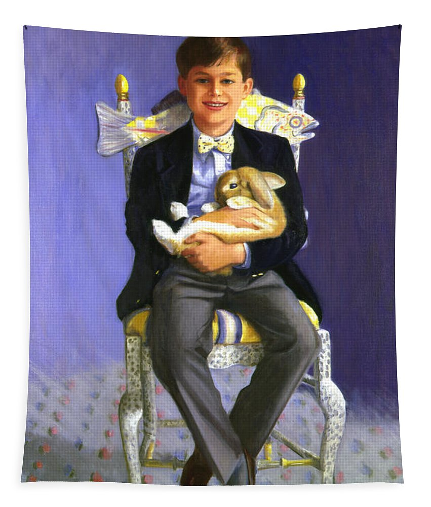 Boy Tapestry featuring the painting Master Alex With Flippy by Candace Lovely