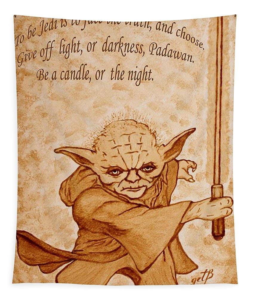 Master Yoda Sayings Tapestry featuring the painting Master Yoda Wisdom by Georgeta Blanaru