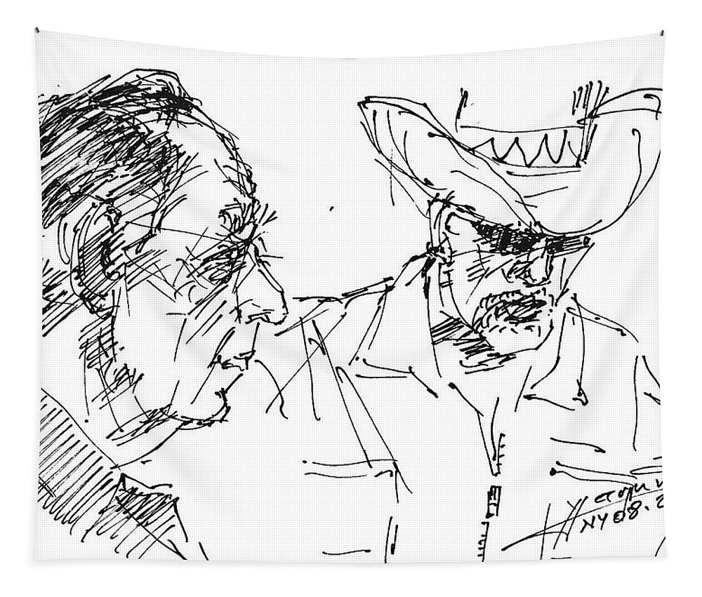 Men Talking Tapestry featuring the drawing Math Teacher And The Magician by Ylli Haruni