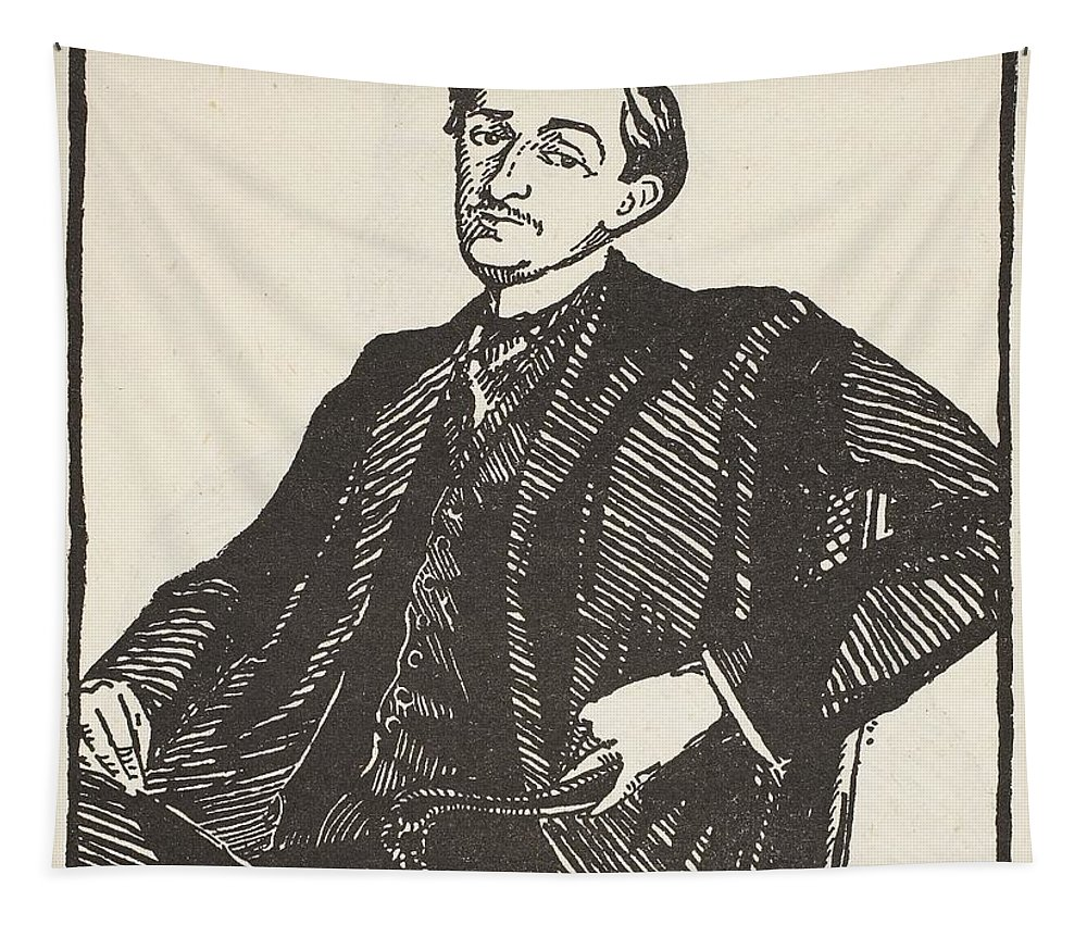 Half Length Tapestry featuring the drawing Maurice Barres, Copy By Boris by Jacques-Emile Blanche