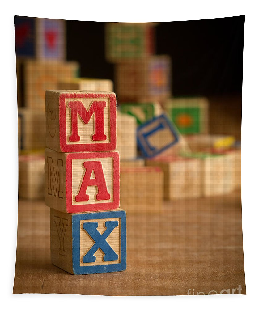 Alphabet Tapestry featuring the photograph Max - Alphabet Blocks by Edward Fielding