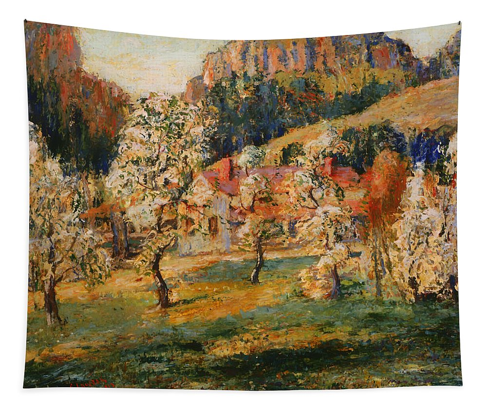 Painting Tapestry featuring the painting May In The Mountains by Mountain Dreams