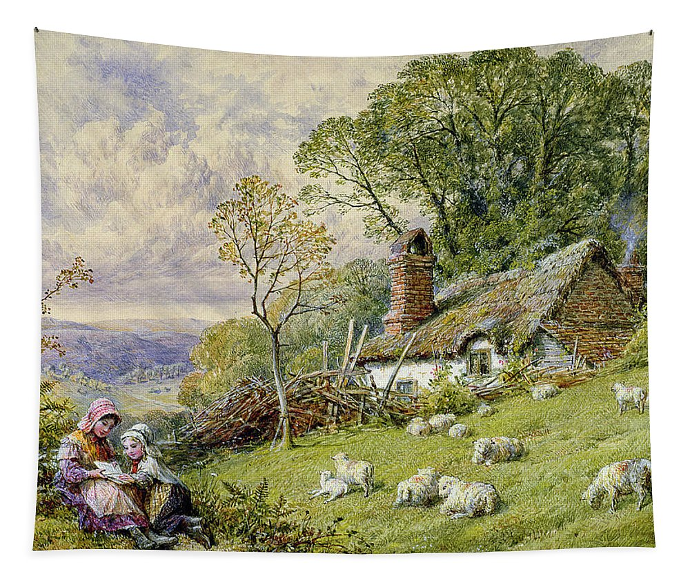 Sheep Tapestry featuring the painting May Time by William Stephen Coleman