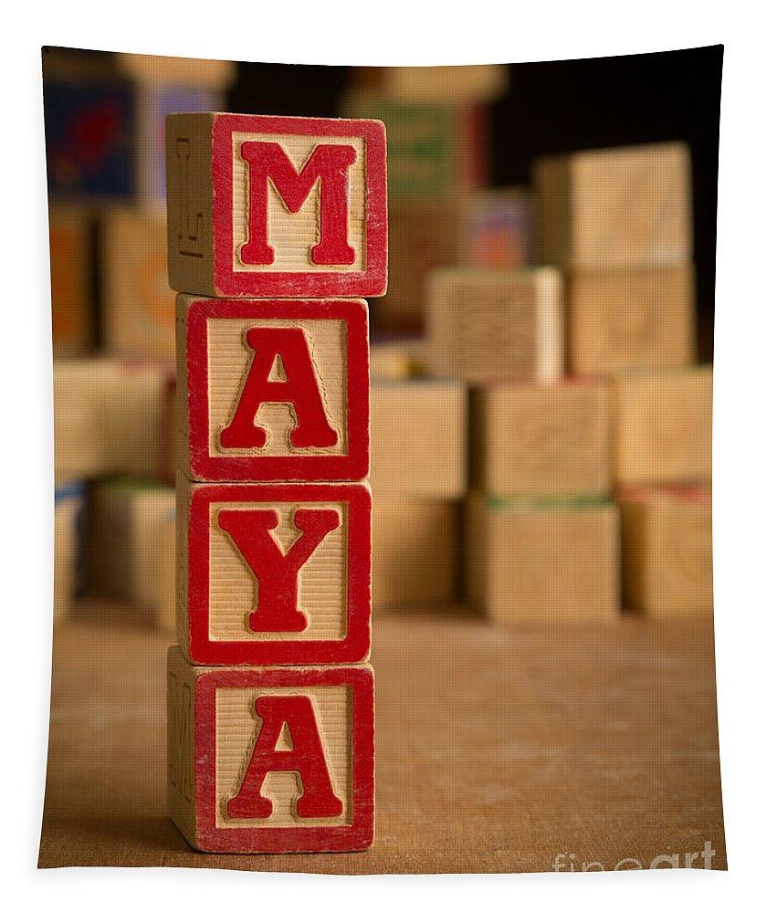 Alphabet Tapestry featuring the photograph Maya - Alphabet Blocks by Edward Fielding