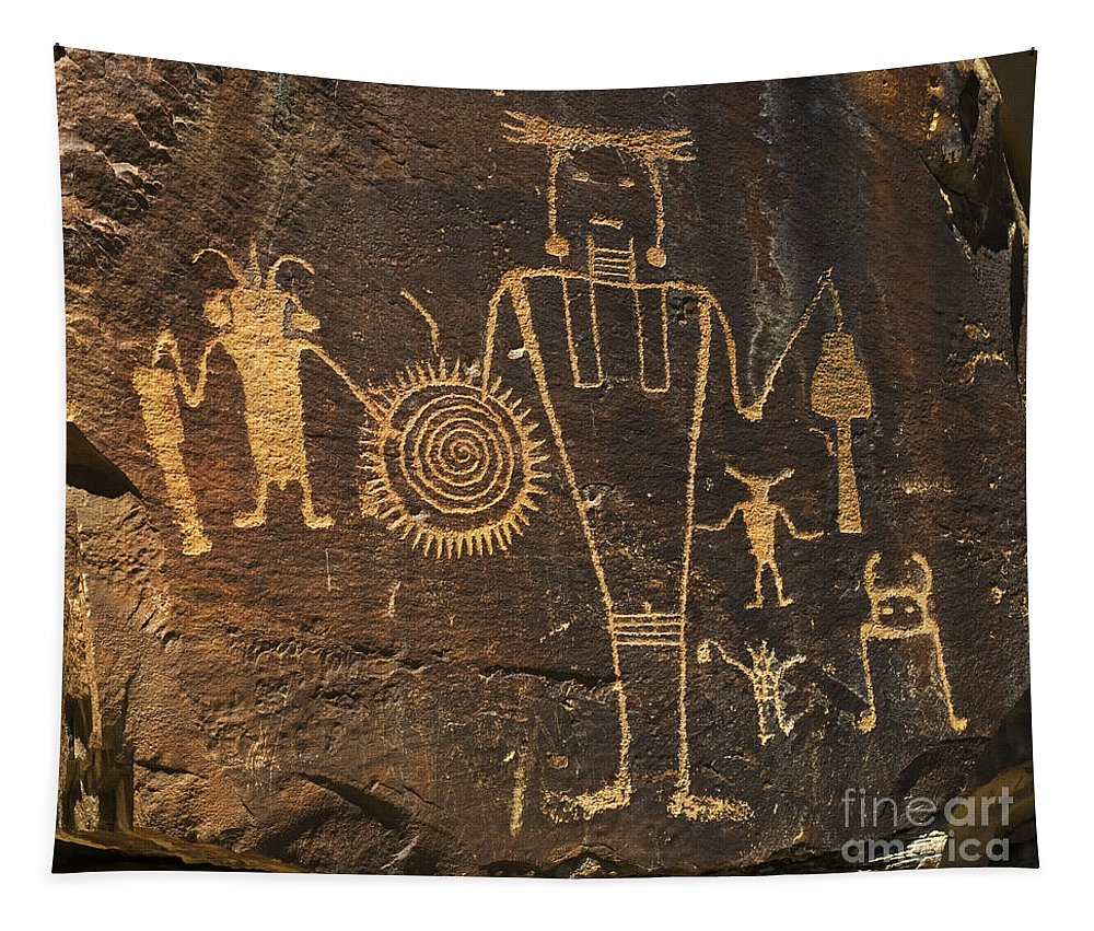 Mckee Ranch Petroglyphs Tapestry featuring the photograph Mckee Ranch Petroglyphs by Bob Christopher