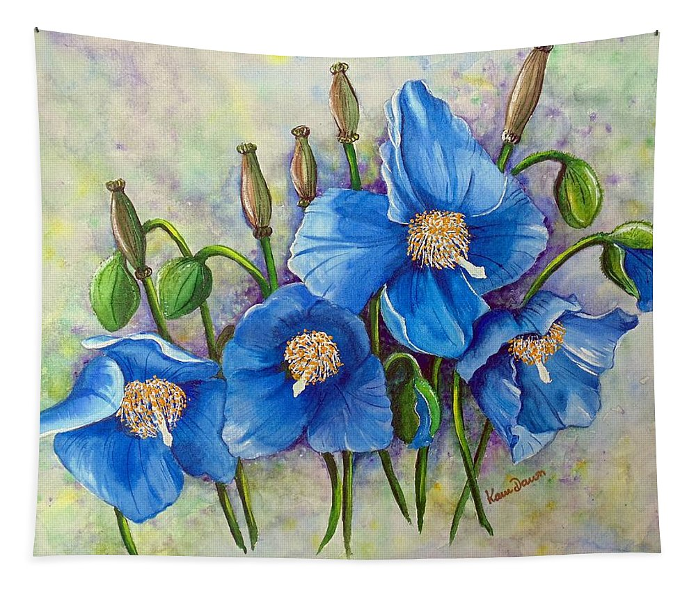 Blue Hymalayan Poppy Tapestry featuring the painting MECONOPSIS  Himalayan Blue Poppy by Karin Dawn Kelshall- Best