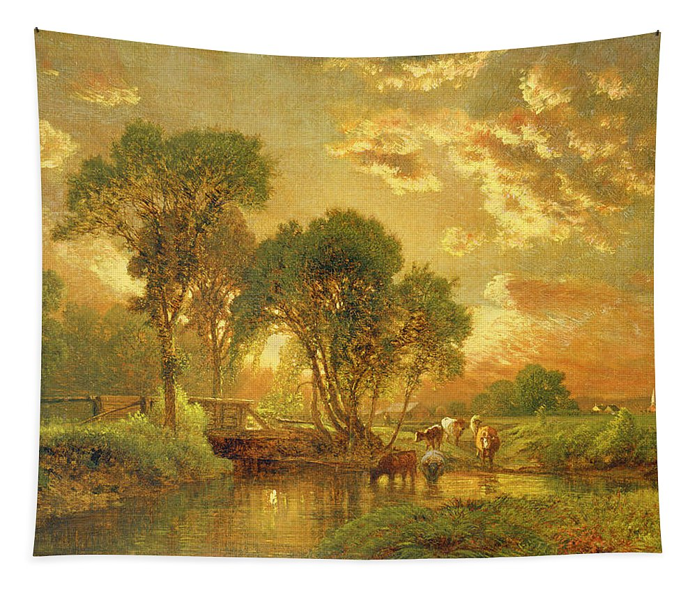 Inness Tapestry featuring the painting Medfield Massachusetts by Inness