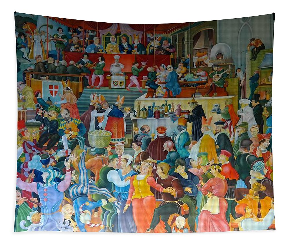 Paint Tapestry featuring the painting Medieval Banquet by Mountain Dreams