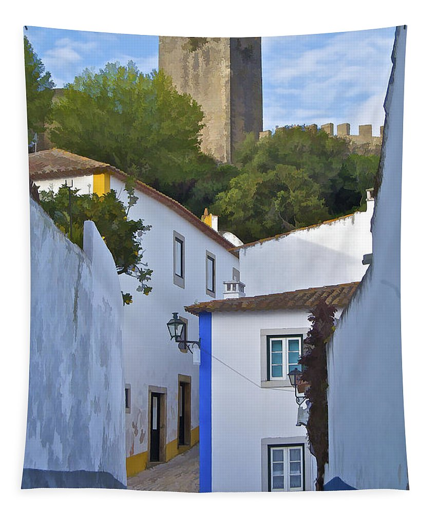 Blue Tapestry featuring the photograph Medieval Castle Of Obidos by David Letts