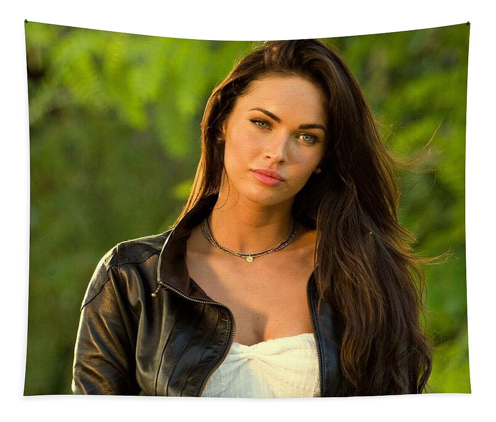 Megan Denise Fox Tapestry featuring the photograph Megan Fox by Movie Poster Prints