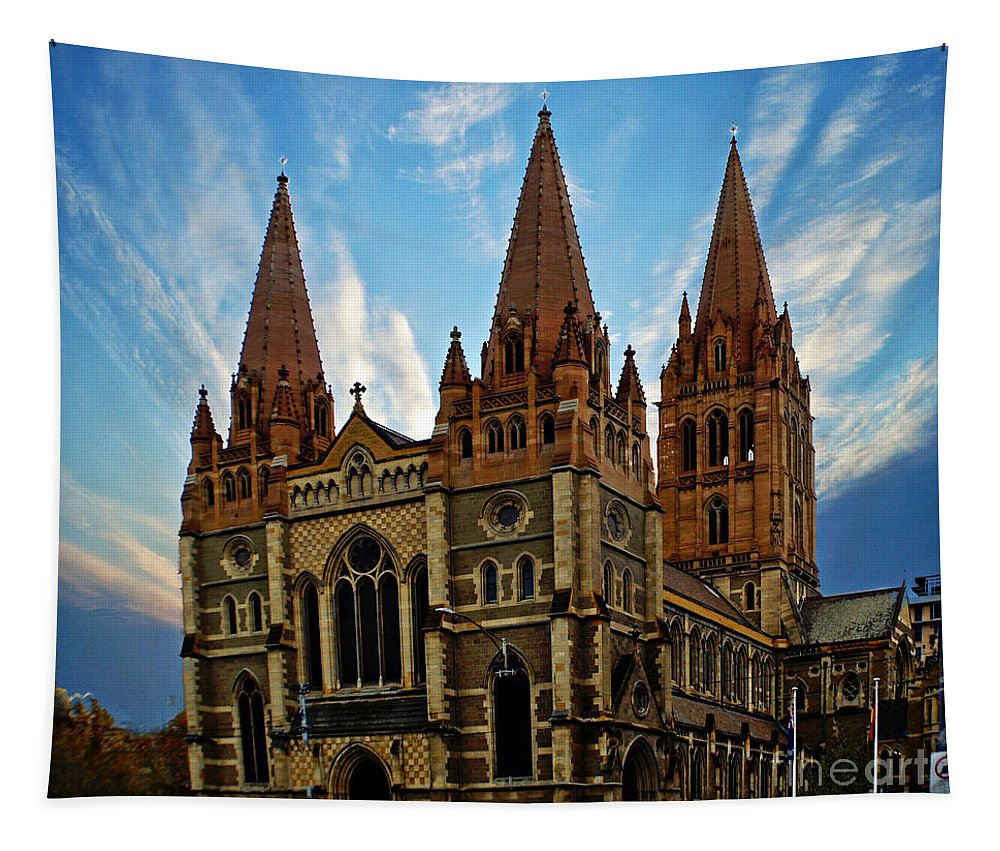 Building Tapestry featuring the photograph Melbourne Church by Ben Yassa