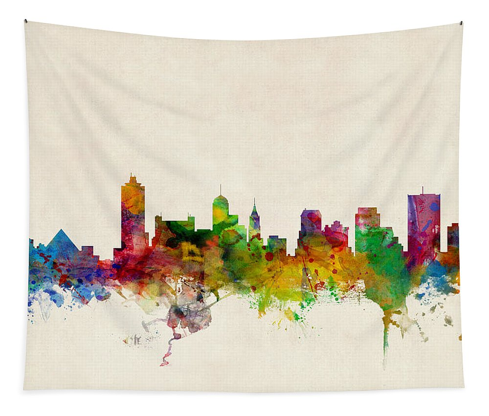 Watercolour Tapestry featuring the digital art Memphis Tennessee Skyline by Michael Tompsett