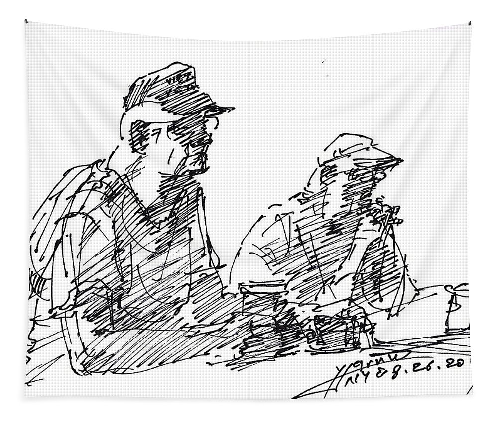 Men At Bar Tapestry featuring the drawing Men At The Bar by Ylli Haruni