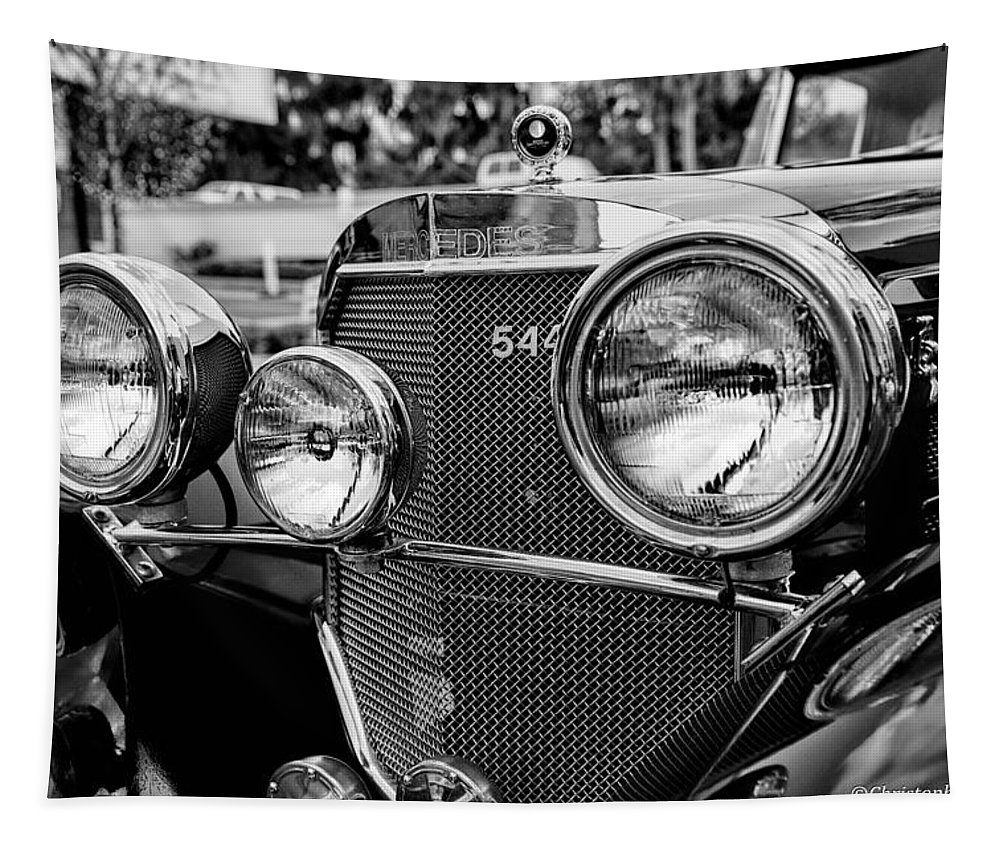 Car Tapestry featuring the photograph Mercedes 544k Grille - Bw by Christopher Holmes