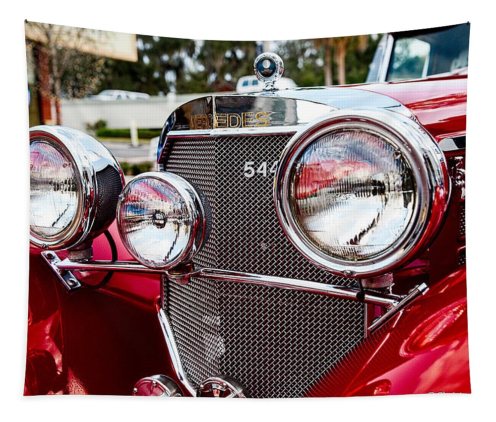 Car Tapestry featuring the photograph Mercedes 544k Grille by Christopher Holmes