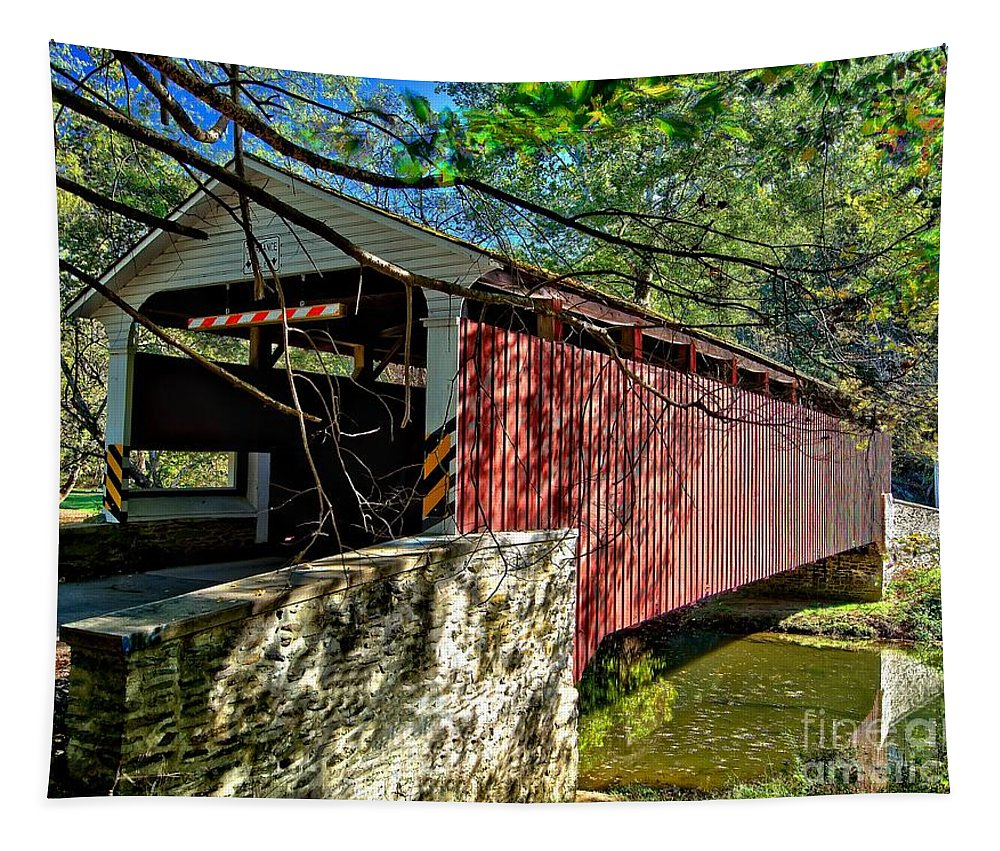 American Tapestry featuring the photograph Mercers Mill Covered Bridge by Nick Zelinsky