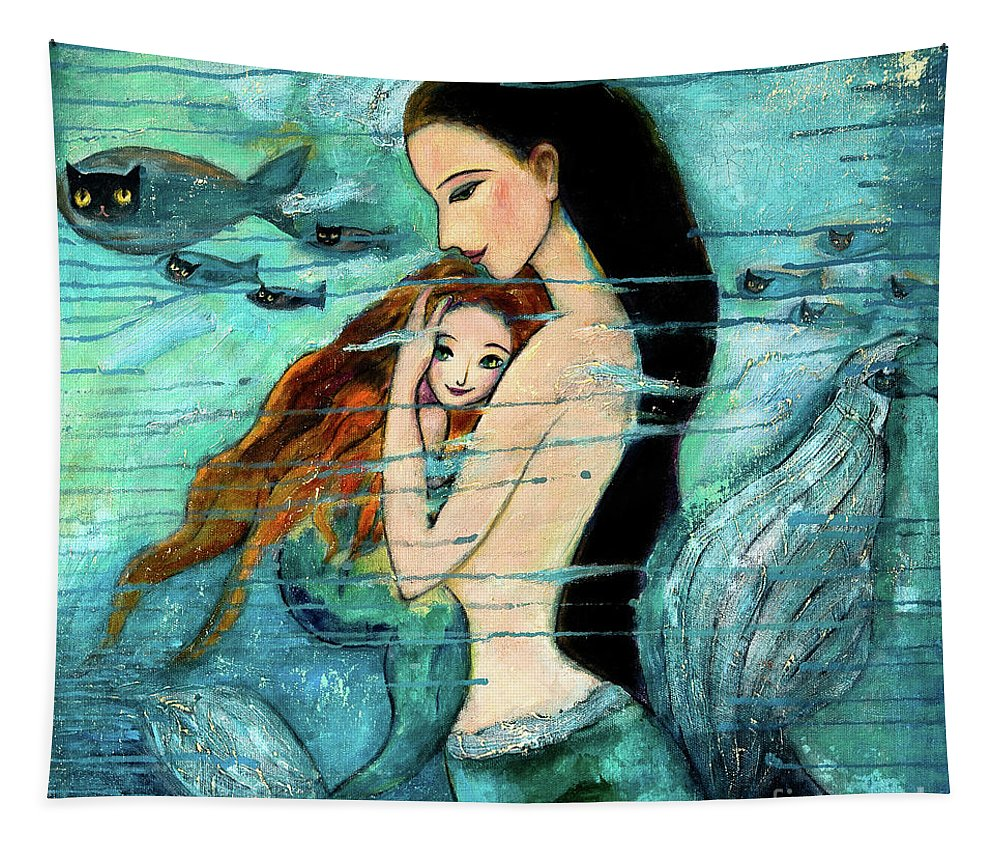 Mermaid Art Tapestry featuring the painting Mermaid Mother and Child by Shijun Munns